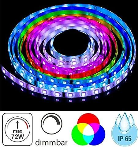 (5,98 €/m) 5m LED RGB Stripe 12V IP65 dimmbar - 72W - 300x 5050 60SMD/m - selbstklebend - 10mm