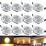 Hengda® 3W LED Einbauleuchte Warmweiß Wohnzimmer Decken Leuchte Lampe Spot Strahler Set 235-255LM 85-265V AC, 12 set