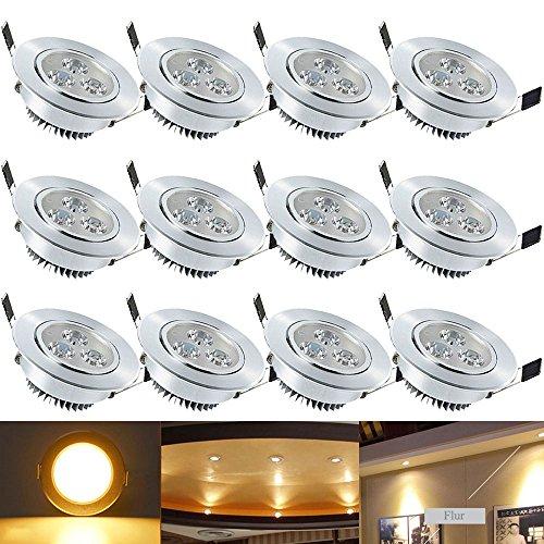 Hengda® 12 x 3W LED Spot Warmweiß 2800-3200k Decken Einbauleuchte Leuchte Einbau Strahler Set Lampen 230v 3 Watts