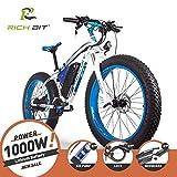 RICH BIT Bici elettriche da uomo Cruiser fat bicicletta TP012 1000 W * 48 V * 17AH fat tire 66 x 10,2 cm 7 marce Shimano Dearilleur Power ciclismo blu