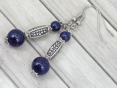 Boucles d'oreille Thurcolas en Lapis Lazuli de la gamme Medicis plaqué argent