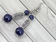 Boucles d'oreille Thurcolas en Lapis Lazuli de la gamme Medicis en acier inoxyd