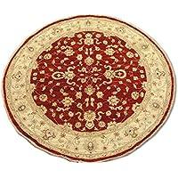 Tradizionale a mano Chobi Agra circolare persiano, lana, rosso scuro,