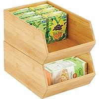 mDesign boite de rangement empilable – boite en bambou polyvalente pour placards de cuisine – caisse en bois de bambou…