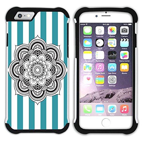 Graphic4You Mandala Blume Streifenmuster (Wasserblau) Hart + Weiche Kratzfeste Hülle Case Schale Tasche Schutzhülle für Apple iPhone 6 / 6S Türkis