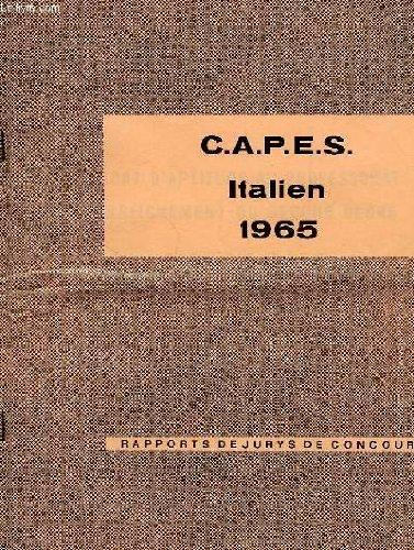 CAPES ITALIEN, 1965, RAPPORTS DE JURYS DE CONCOURS