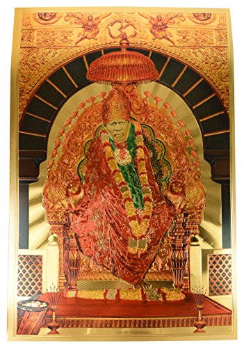 Aone India Sai Baba ji Poster (Gold Foil, 30 cm x 0.5 cm x 45 cm)