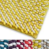 Badteppich Chenille Casa Pura® saugfähig | Poil lang Dick | 6Farben zur Auswahl | Manta–50x 80cm, gelb, 50x80cm
