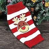 Weihnachten Hund Welpen Katze Warm Pullover Knit Pullover Kleidung gestreift Santa Claus Strickwaren Mantel Kostüme Apparel - 2