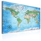 murando - Weltkarte Pinnwand 120x80 cm - Bilder mit Kork Rückwand - Set mit 50 Markierfähnchen-Pinnnadeln - Leinwandbilder - Pinnwand - Korktafel - Fertig Aufgespannt - Wandbilder XXL - Kunstdrucke - Wandbild - Lernkarte Reise Geographie Landkarte Karte k-A-0127-p-a