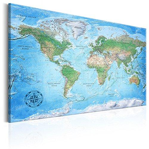 murando Weltkarte Pinnwand & Vlies Leinwand Bild 120x80 cm XXL Bilder mit Kork Rückwand Set mit 50 Markierfähnchen-Pinnnadeln Korktafel Kunstdruck Wandbilder Lernkarte Reise Landkarte k-A-0127-p-a -