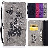Yiizy Samsung Galaxy S7 Edge / G935 / G935F Coque Etui, Fleur Papillon Design Mince Flip PU Cuir Cover Couverture Rabat Case Coquille Portefeuille Housse Média Stand de Fente pour Carte Bumper Protecteur Skin Poche (Gris)