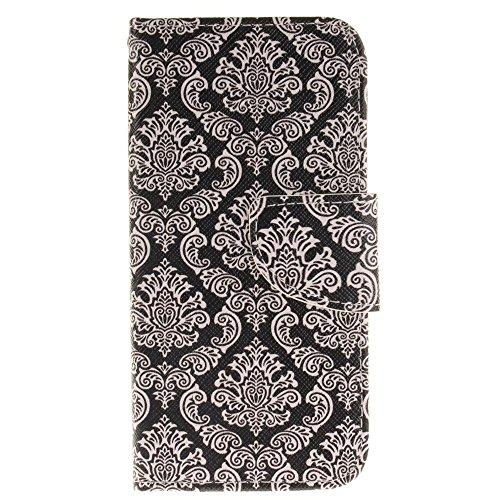 KATUMO® Ledertasche iPhone 7, iphone 8 Hülle, PU Leder Hülle Flip Case für Apple iPhone 7/8 Tasche Cover Leicht und Schlank Antiklopfmittel Schale Case, Löwe Retro Flower