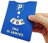 DISCO ORARIO MADE IN ITALY PARCHEGGIO ORA DI ARRIVO IN GOMMA CON RIFINITURE CUCITE 12X10 CM (E)