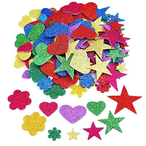 Outus 2.65 Ounce Foam Glitter Stickers Self-Adhesive Foam Stickers, Star, Mini Heart and Flower Shape Test