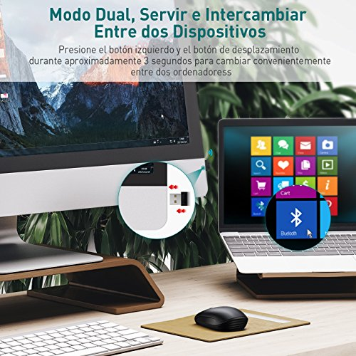 [Superior]TOPELEK Ratón Inalámbrico Bluetooth Wireless Mouse Bluetooth 4.0 & 2.4G con receptor USB(Modo Dual 2400 DPI Ajustable) para Macbook Pro / Air / Win 8/10 – Mini Ratón Pequeño y Portátil
