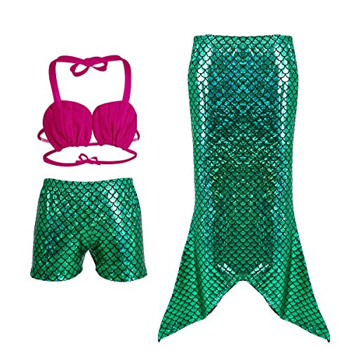 D'amelie Kinder Mädchen Meerjungfrau Schwanz Mermaid Kostüm 3tlg. Badeanzug schuppen Muschelschale Bikini (Ariel Mädchen Kostüme)