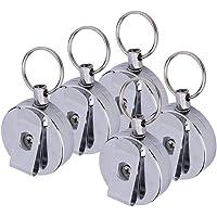 Schlüsselkette, 5 x Schlüsselanhänger mit Elastischer Einziehbare Stahldraht-Seil Teleskop Stahldraht Seil Schlüssel…