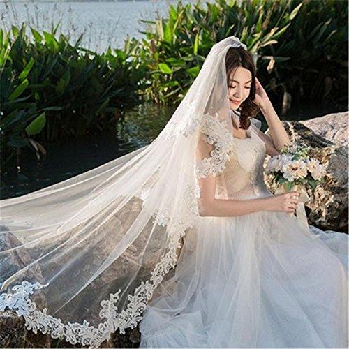 Gwq sposa matrimonio velo cattedrale 3m trailing doppio nascosto filato netto pizzo ricamato bordo con metallo pettine bianco avorio