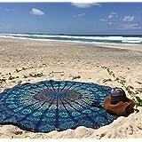 Dreamhigh Direct - Manta redonda, con diseño de pluma de pavo real, estilo  Mandala, algodón, color azul