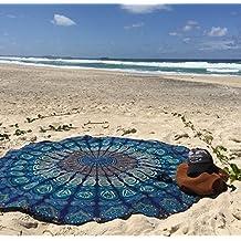 Azul redondo con diseño de pluma de pavo real Mandala Tapiz, hippie de estilo, colcha, manta, estilo de pared imagen, Boho, algodón, mesa, toalla playa, decorativa pared colgantes, redondas de meditación Yoga–Esterilla