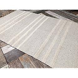 Alfombra a rayas triples de algodón natural y yute, color gris y crema, 70cm x 130cm
