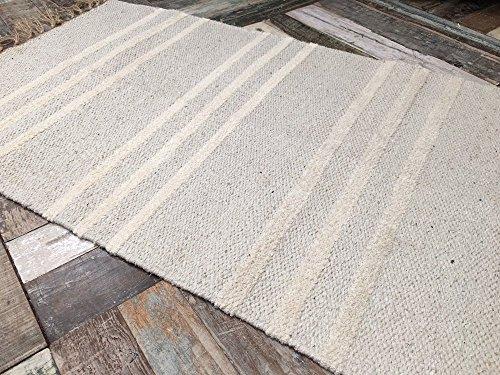 Natürliche Baumwolle & Jute grau creme Triple Stripe Teppich 70cm x 130cm (Natur Teppich Natürliche)