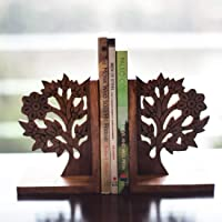 ExclusiveLane Wooden Hand Carved & Engraved Tree of Life Book End in Sheesham Wood - Book Organizer Book Racks Shelf…