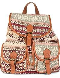 styleBREAKER Rucksack Handtasche mit trendigem Ethno Muster, Boho Style, Tasche, Unisex 02012122