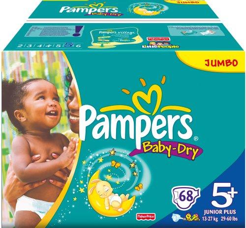 Pampers Windeln Baby Dry Gr.5+ Junior Plus 13-27 kg Jumbo, 68 Stück