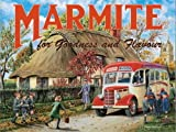 Marmite. Old vintage, retro advert with school bus and children. Food. Countryside setting. For house, home, kitchen, cafe, shop, pub or bar Small Metal/Steel Wall Sign