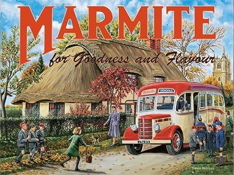 Marmite. Vieux vintage, rétro annonce avec École bus et enfants.