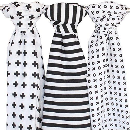 blueberry-shop-couverture-en-mousseline-lot-de-3-noir-blanc-bebe-ziggy-1219-x-1219-cm-croix-xo-motif