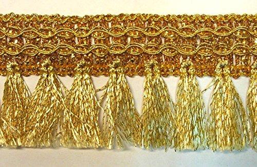 16,40m Fransen-Borte 4cm breit Farbe: Lurex-Gold TSL-AA360-7-gold