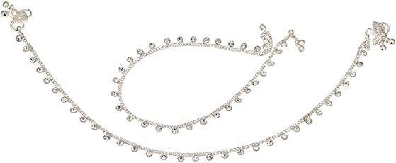 Fashion World Silver Payal Crystal Anklet for Girls and Women