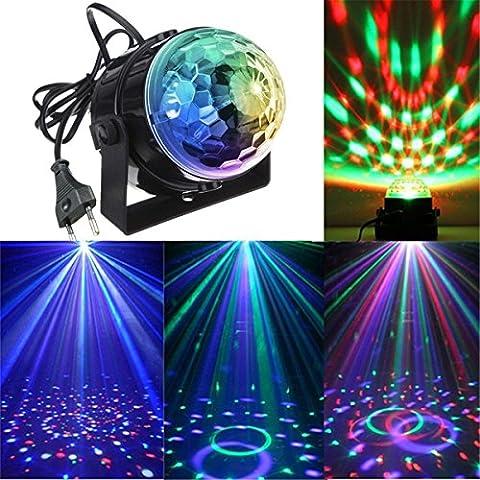 Luci da palco, KINGSO Mini magica fase palla lampada cristallo rotante sfera LED RGB effetto (Sfera Di Musica)
