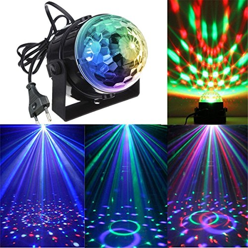 Preisvergleich Produktbild KINGSO Mini LED Lichteffekte Disco Licht Party Licht Bühnenbeleuchtung 3W RGB Sprachaktiviertes Kristall Magic Ball Bühnenlicht für Show Disco Ballsaal KTV Stab Stadium Club Party