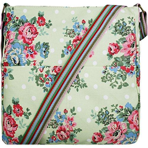 Miss Lulu Damen Blumen Leinwand Schultertasche Umhängetasche Cross Body Messenger Bag Schule Satchel Tasche Blumen Grün