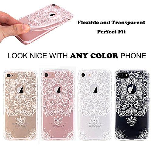 iPhone 7 Hülle, JIAXIUFEN TPU Silikon Schutz Handy Hülle Handytasche HandyHülle Etui Schale Schutzhülle Case Cover für Apple iPhone 7 / iPhone 8 - Rose Flower Floral Totem