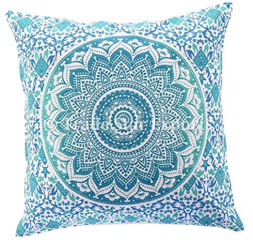 Indian Mandala, fundas de cojín, funda de almohada de 40 x 40 cm, funda de almohada cuadrada de algodón. Cojines étnicos de sofá, manta de almohada decorativa.