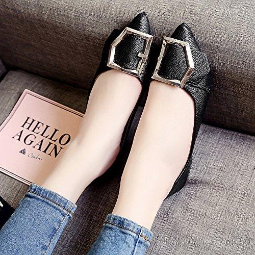RUGAI-UE Donna Summer ha sottolineato piatto scarpe comode fibbia in metallo Calzature Black
