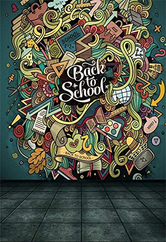 vrupi 5x7ft Vinyl Backdrop Photography Background Back to School Theme Backdrop Cartoon Cute Doodles Hand Drawn Design Colorful Objects Funny Learning Tools Square Tile Floor Students Children