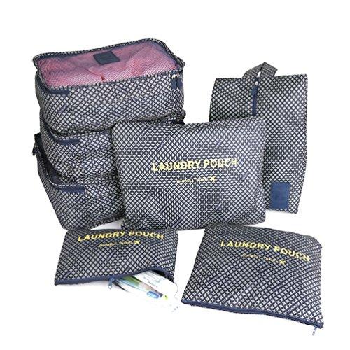 Marosoniy® Kleidertaschen-Set 7 Wasserdichte Reisetasche in Koffer Wäschebeutel Schuhbeutel Kosmetik Aufbewahrungstasche Reisegepäck Veranstalter (Blau Star) Blau Star