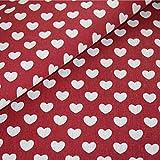 Herz Stoff Baumwolle Canvas Meterware weiß rot Landhaus