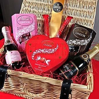 Lanson And Lindt Lindor Luxury Valentines Sharing Hamper By Moreton Gifts Lansons Champange Strawberry And Cream, Dark Truffles, Lindt Lindor Flutes And Lindt Heart By Moreton Gifts