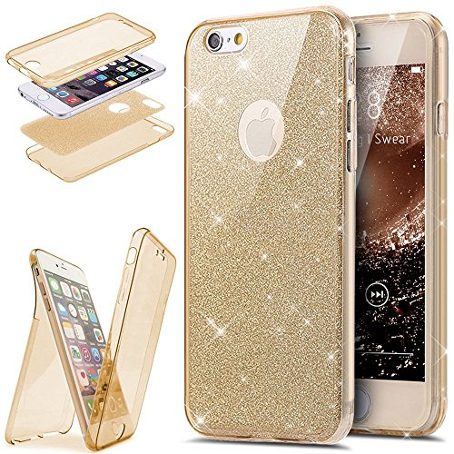 EUWLY Coque iPhone 7 Plus/8 Plus,Coque Silicone Gel 360 Protection Intégral iPhone 7 Plus/8 Plus Glitter Etui,[Complet Avant + Arrière Full-Body 360 Coverage Protective] Bling Brillants Paillette Hous Or