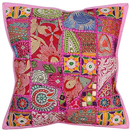 Vintage Hippie Stickerei Arbeit handgefertigte Kissenbezug Kissenbezug, Kissen einfügen, indische Kissenbezug, dekorative Sofa Boho Chic böhmischen werfen Kissen, indische Kissenbezug Baumwolle - Seide Bestickt Indien Kissen Kissen