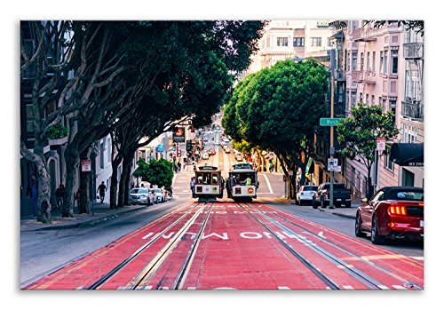 Thousand Face San Francisco Leinwandbild, Straßenbahn Powell Street Landschaft, Wandbild, Wohnzimmer, Badezimmer, Kunst, Schlafzimmer, Küche, Einzelpaneel, 30 cm x 20 cm