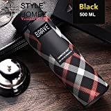 Style Homez Double Wall Vacuum Insulated Stainless Steel Flask Bpa Free Thermos Travel Water Bottle Sipper 480 Ml,Black Color (Brave)