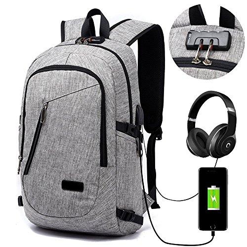 Lmeison Laptop-Rucksack mit USB-Ladeanschluss und Anti-Diebstahl Lock,12-16 Zoll Laptoptasche,Wasserdichte Schulrucksack Unisex Daypack – Grau (15-zoll-laptop-rucksack)
